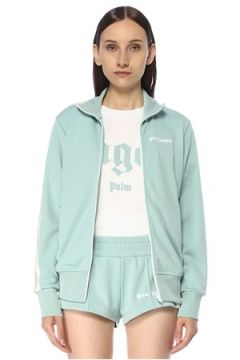 Palm Angels Kadın Mavi Beyaz Dik Yaka Fermuarlı Ceket XS EU(117384945)
