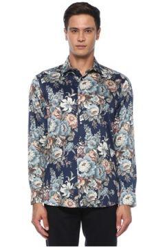 Etro Erkek Lacivert Modern Yaka Çiçek Desenli Gömlek 38 IT(120498259)