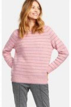 Miękki sweter w błyszczące paski Różowy L(115901743)