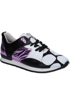 Chaussures Date sneakers blanc cuir noir textile BX72(115442480)
