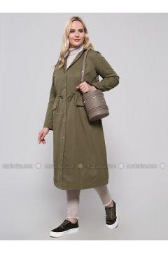 Khaki - Fully Lined - Polo neck - Plus Size Trench coat - Alia(110318432)
