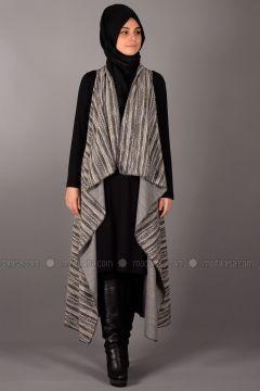 Black - Stripe - Unlined - Vest - Henna Elısa(110336551)