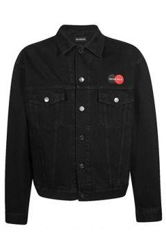 Balenciaga Erkek Siyah Logo Nakışlı İngiliz Yaka Jean Ceket 50 IT(114438789)