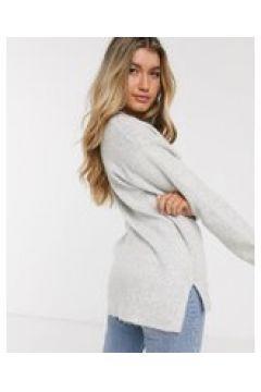 New Look - Maglione grigio con scollo a V-Crema(120362741)