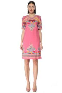Etro Kadın Pembe V Yaka Şal Desenli Mini Elbise 40 IT(127545779)