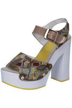 Sandales Suky Brand sandales beige textile cuir verni AB308(115395359)