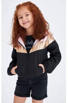 DeFacto Kız Çocuk Renk Bloklu Kapüşonlu Yağmurluk(119060737)