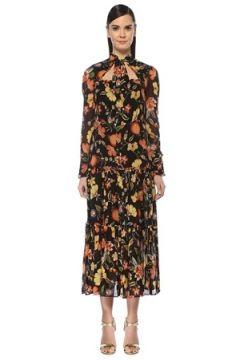 Alexis Kadın Sabryna Siyah Çiçekli Kesim Detaylı Midi Elbise L EU(108810020)