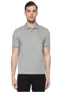Moncler Erkek Gri Polo Yaka Logo Patchli T-shirt XXL EU(114438941)