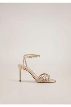 MANGO Woman Kadın Altın Sarısı Metalik Bantlı Sandalet(121097454)
