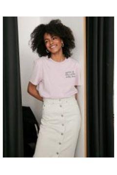 Dr Denim - T-shirt con scritta-Rosa(112348421)