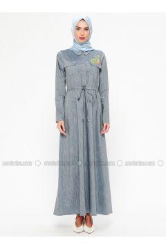 Blue - Indigo - Point Collar - Unlined - Dresses - MARKESRA(110314799)