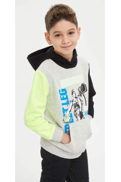 DeFacto Erkek Çocuk Kapüşonlu Baskılı Sweatshirt(125918979)