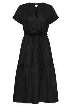 Linen-Cotton Ruffle Midi Dress Kleid Knielang Schwarz GAP(114164427)