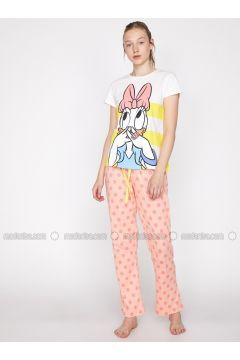 Pink - Crew neck - Multi - Cotton - Pyjama - Koton(110322389)