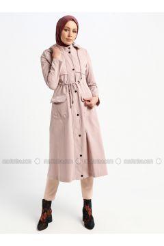 Powder - Unlined - Button Collar - Topcoat - Butik Neşe(110335623)