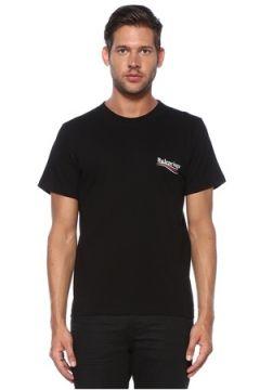 Balenciaga Erkek Siyah Bisiklet Yaka Logolu T-shirt XL EU(119942997)