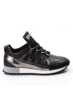 FAST STEP Hakiki Deri Siyah Platin Kadın Sneaker(105130501)