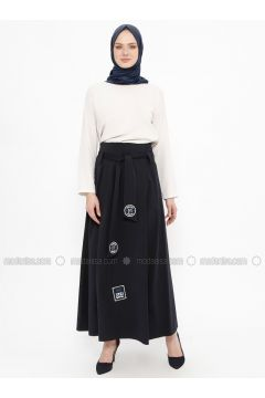Navy Blue - Multi - Fully Lined - Skirt - Tekbir(110335652)