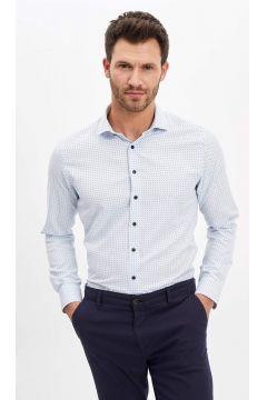 DeFacto Erkek Puantiye Desenli Kolay Ütülenir Slim Fit Gömlek(119060122)