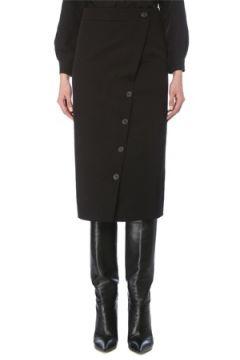 Balenciaga Kadın Siyah Yırtmaçlı Midi Yün Kalem Etek 38 FR(126795751)