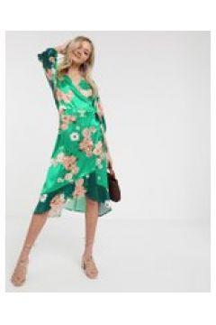 Liquorish - Satin-Minikleid im Kimonostil mit grünem Blumen-Mustermix - Grün(95032562)