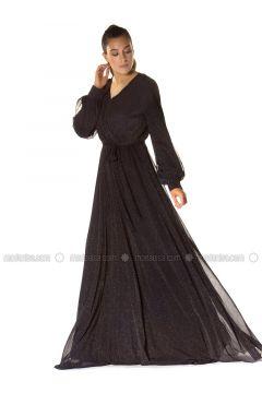 Black - Fully Lined - V neck Collar - Muslim Evening Dress - 6IXTY8IGHT(110317279)