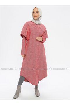 Red - Fully Lined - Crew neck - Topcoat - Beha Tesettür(110336518)