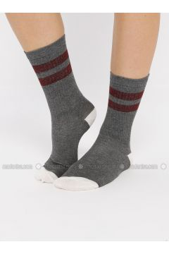 Gray - Anthracite - Cotton - Socks - Koton(110323625)