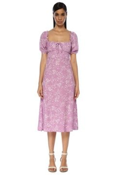 Faithfull The Brand Kadın Bette Lila Kare Yaka Çiçekli Midi Elbise Mor XS EU(119229990)