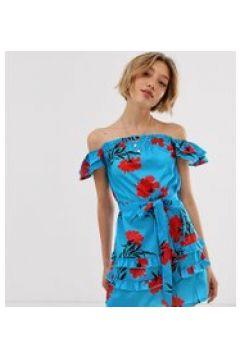 Parisian Petite - Schulterfreies Kleid mit verziertem Ärmel und geblümtem Print - Blau(94963801)