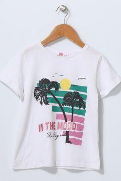 Pink&Orange Çocuk Baskılı Beyaz T-Shirt(113956614)