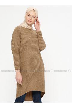 Camel - Crew neck - Tunic - Marwella(110333278)