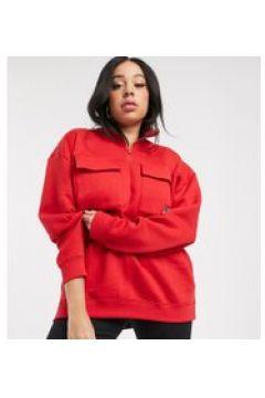 Daisy Street Plus - Felpa con tasche pratiche, zip corta e stemma con bandiera ricamato-Rosso(120381242)