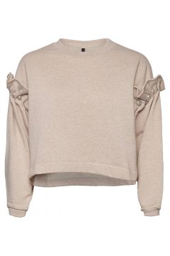 Dani Cropped Jumper With Pearl Shoulder Strickpullover Creme MOTHER OF PEARL(118611813)