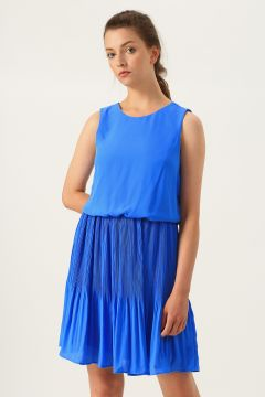 Vero Moda V Yaka Pilili Mavi Elbise(113981006)