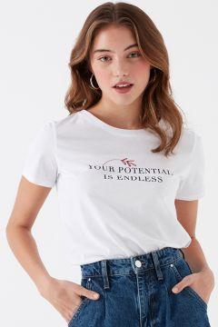 Mavi Potentıal Baskılı Penye Beyaz T-Shirt(126399248)