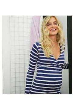 ASOS DESIGN Maternity - Top a portafoglio per allattamento a coste con stampa a righe-Multicolore(120381445)
