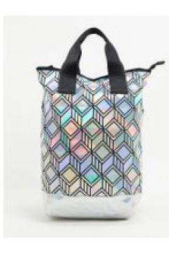 adidas Originals - Maxi borsa con motivo geometrico effetto 3D argento(122358043)