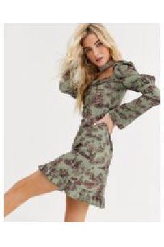 New Girl Order - Vestito da giorno con scollo quadrato e stampa vintage con paesaggio-Verde(120328599)