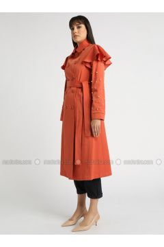 Terra Cotta - Fully Lined - Point Collar - Trench Coat - MOODBASİC(110339175)