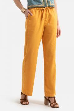 Pantalón ancho de lino y algodón(108827745)
