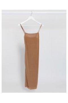 Fashionkilla - Vestito midi per uscire color cammello con spalline sottili-Beige(120330946)