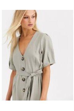 Soaked In Luxury - Vestito in lino con bottoni-Pietra(123214303)