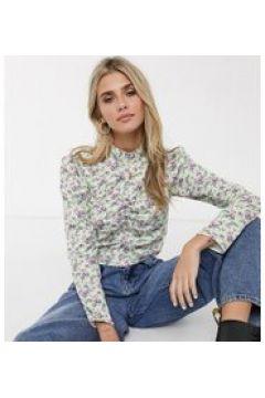 Reclaimed Vintage inspired - Blusa accollata in raso a fiori con maniche a sbuffo-Multicolore(120374507)
