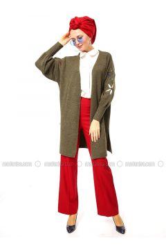 Khaki - Acrylic -- Cardigan - Por La Cara(110318419)