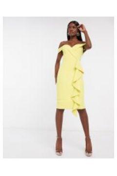 Lavish Alice - Vestito midi con scollo Bardot e volant giallo(120301073)