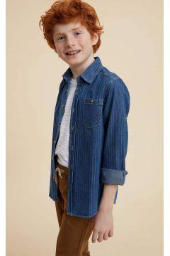 DeFacto Erkek Çocuk Tek Cep Çizgili Kolu Katlamalı Jean Gömlek(119060029)