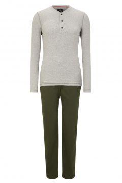 Pyjama - S.C. Original Edition, grau meliert/oliv(111093468)