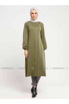 Khaki - Polo neck - Tunic - ModaNaz(110332309)